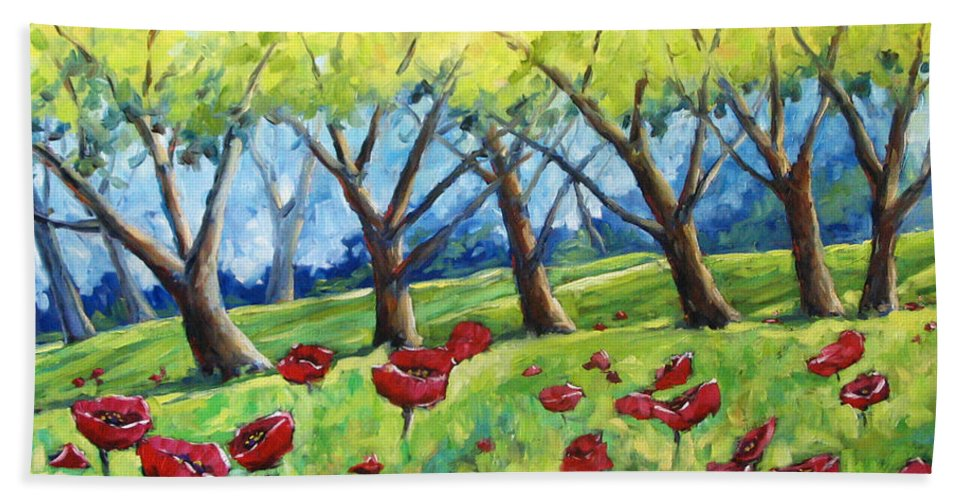 Landscape Bath Towel featuring the painting Through The Meadows by Richard T Pranke