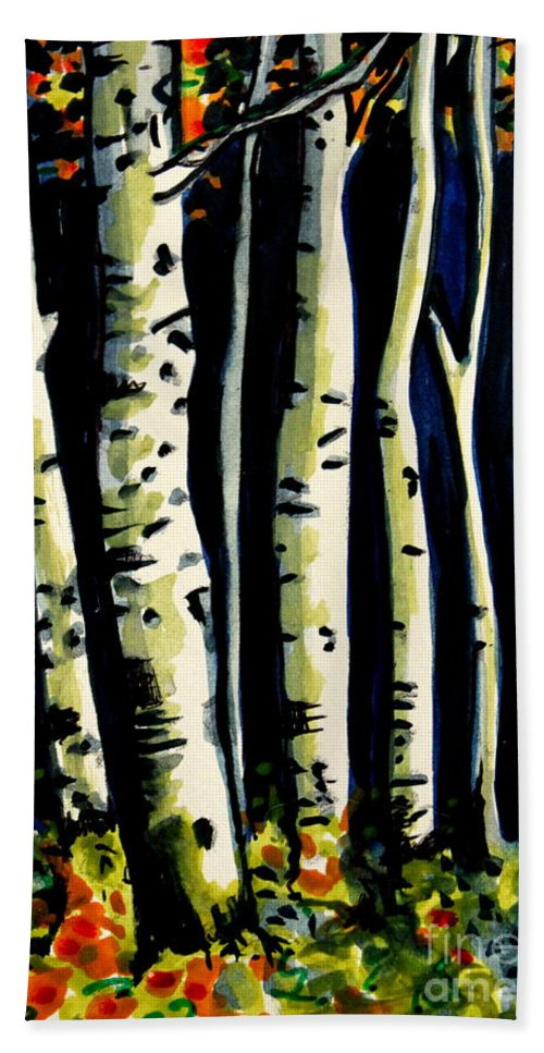 Trees Bath Sheet featuring the painting Through The Midnight Birch Trees by Elizabeth Robinette Tyndall