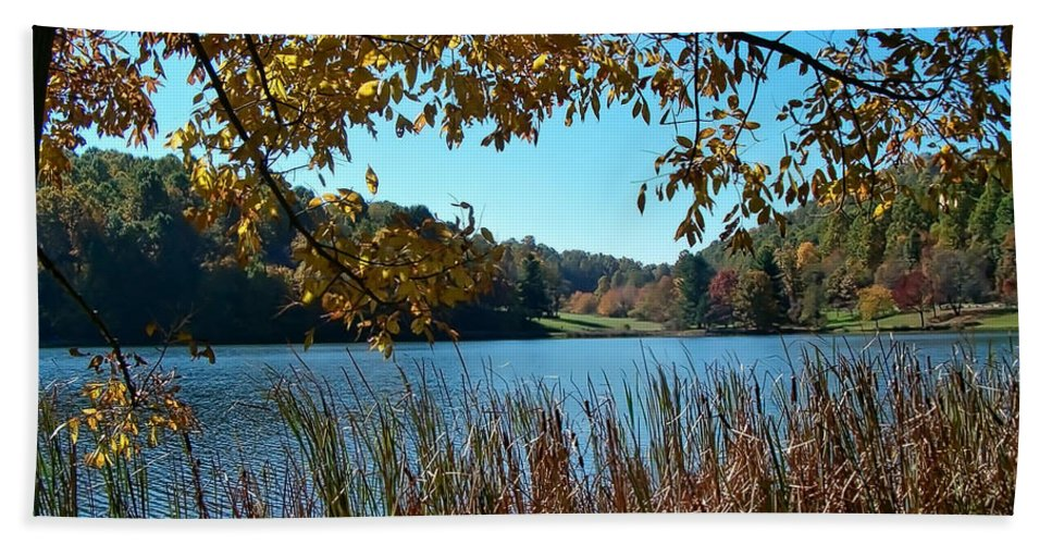 Lake Hand Towel featuring the photograph Through The Trees by Karin Everhart