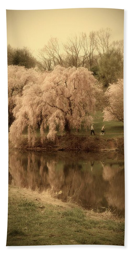 Cherry Blossom Trees Hand Towel featuring the photograph Through The Years - Holmdel Park by Angie Tirado