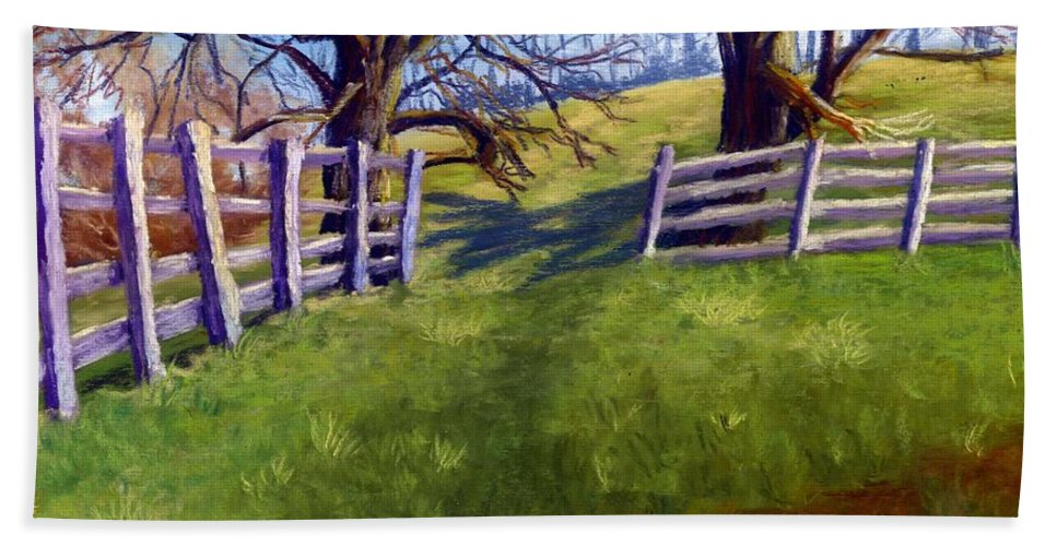 Pasture Bath Sheet featuring the painting Throught The Pasture Gate by Sharon E Allen