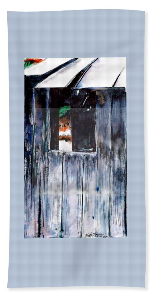 An Old Mysterious Barn With Deep Dark Shadows And Secrets. Rustic And Moody. Bath Towel featuring the drawing Thru the Barn Window by Seth Weaver
