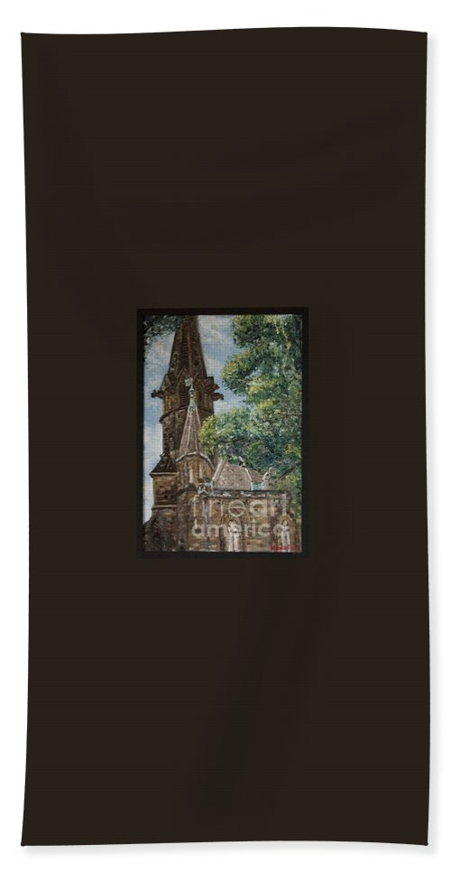 Bath Towel featuring the painting Thun Castle by Pablo de Choros