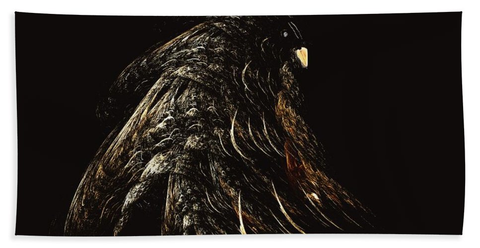 Abstract Digital Painting Bath Towel featuring the digital art Thunder Bird by David Lane