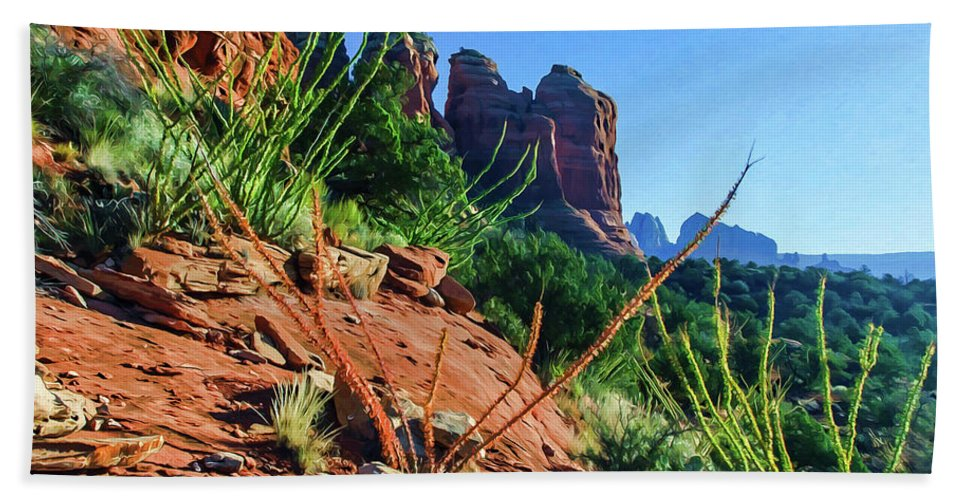 Sedona Bath Towel featuring the photograph Thunder Mountain 07-006 by Scott McAllister