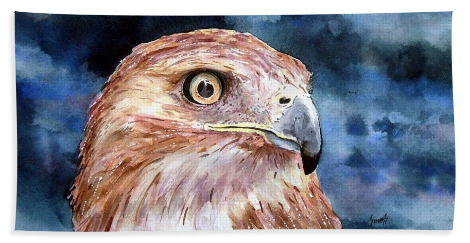 Bird Hand Towel featuring the painting Thunder by Sam Sidders