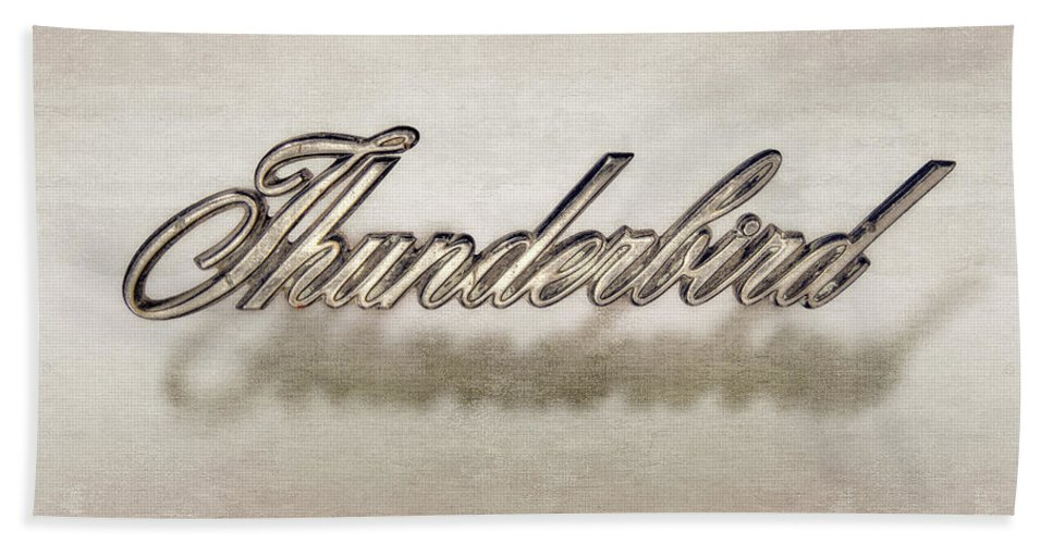 Automotive Bath Towel featuring the photograph Thunderbird Badge by Yo Pedro