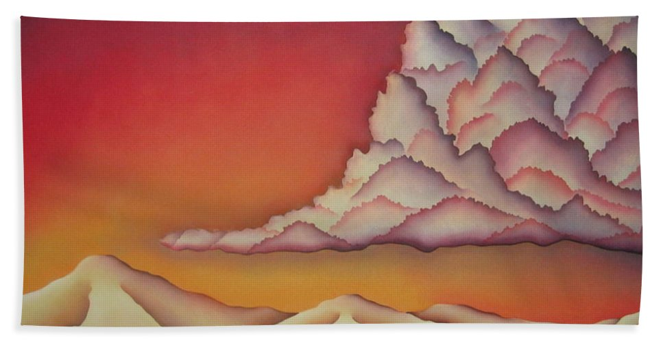 Landscape Bath Sheet featuring the painting Thunderhead by Jeniffer Stapher-Thomas