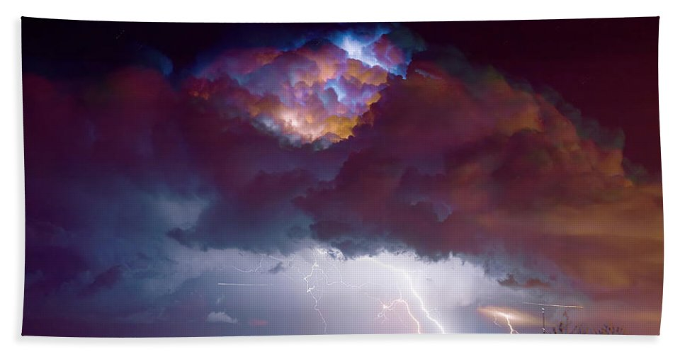 Weather Bath Sheet featuring the photograph Lightning Thunderstorm Over Dacono by James BO Insogna