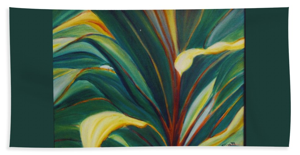 Foliage Bath Sheet featuring the painting Ti Leaves Too by Dina Holland