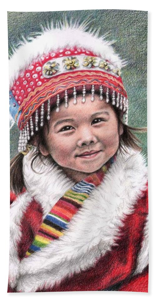 Girl Hand Towel featuring the drawing Tibetan Girl by Nicole Zeug