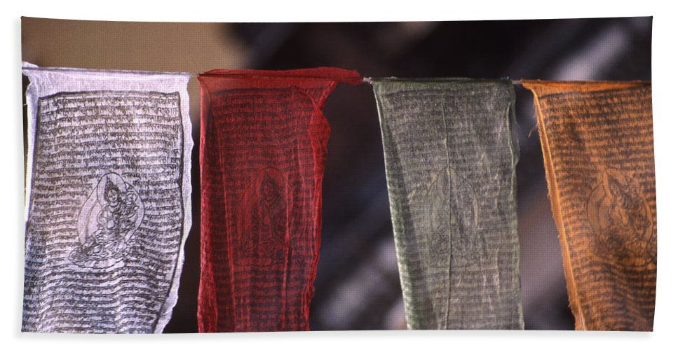 Prayer Flag Bath Towel featuring the photograph Tibetan Prayer Flags by Patrick Klauss