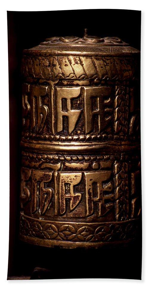 Prayer Wheel Hand Towel featuring the photograph Tibetan Prayer Wheel by Patrick Klauss