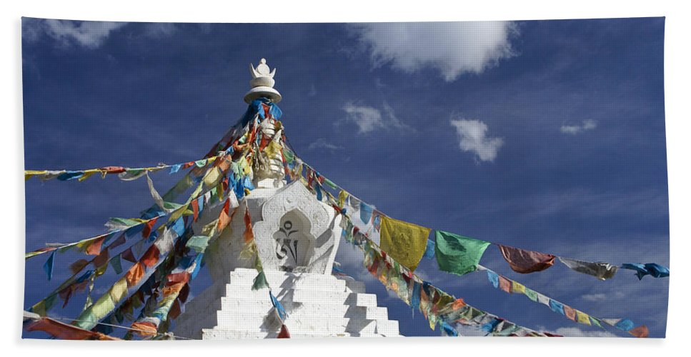 Asia Hand Towel featuring the photograph Tibetan Stupa With Prayer Flags by Michele Burgess
