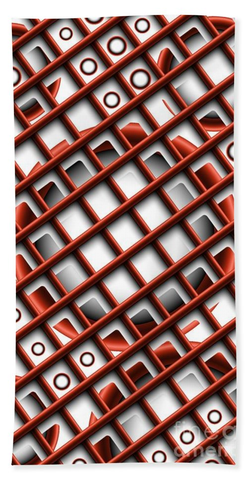 Abstract Hand Towel featuring the digital art Tic Tac Toe by Ron Bissett