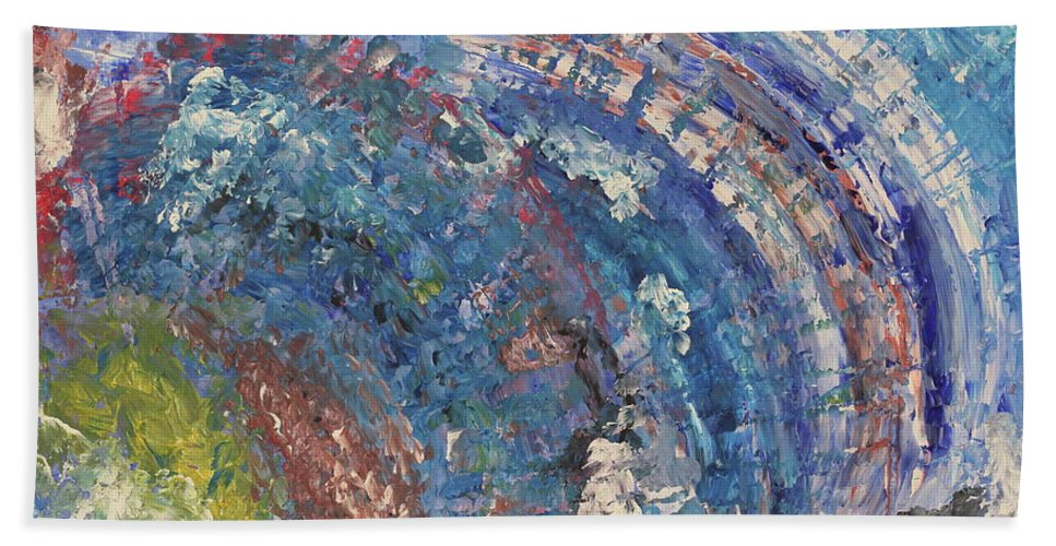 Abstract. Painting Bath Sheet featuring the painting Tidal by Daniel Rustad