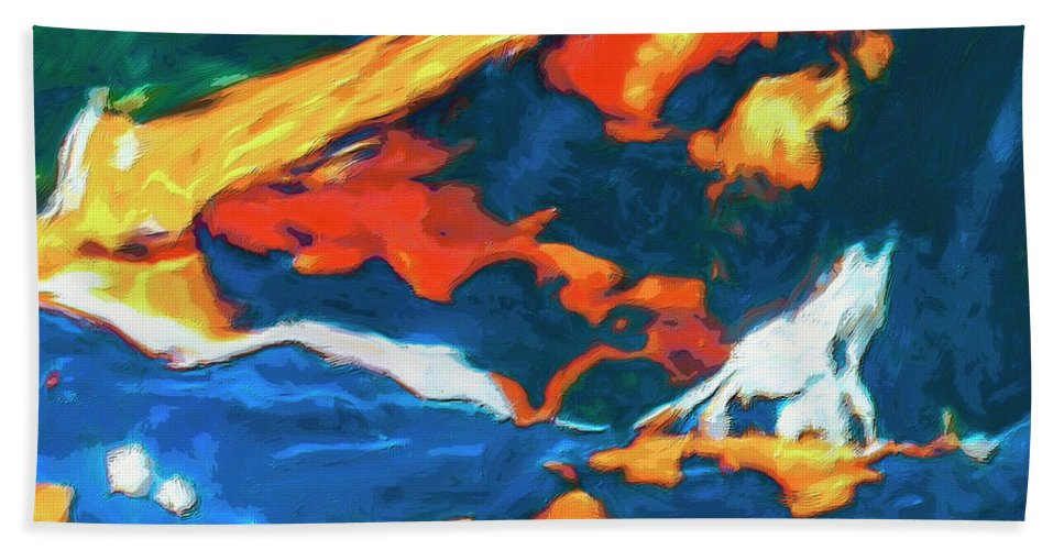 Abstract Hand Towel featuring the painting Tidal Forces by Dominic Piperata