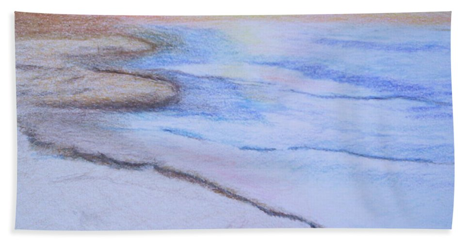 Landscape Bath Towel featuring the drawing Tide is Out by Suzanne Udell Levinger