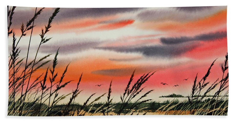 Tideland Watercolor. Tideland Art Hand Towel featuring the painting Tideland Sunset by James Williamson