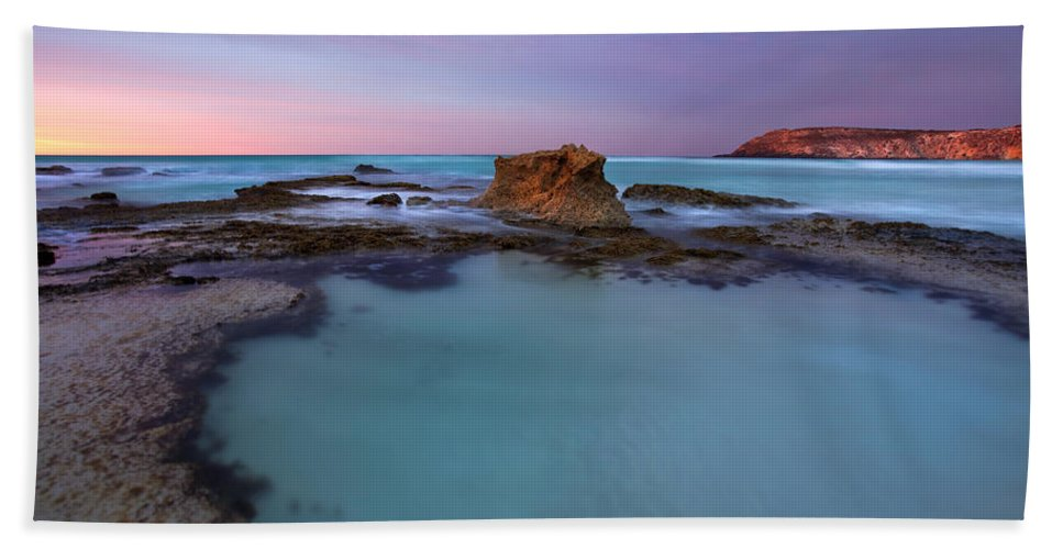 Seascape Tidepools Hand Towel featuring the photograph Tidepool Dawn by Mike Dawson