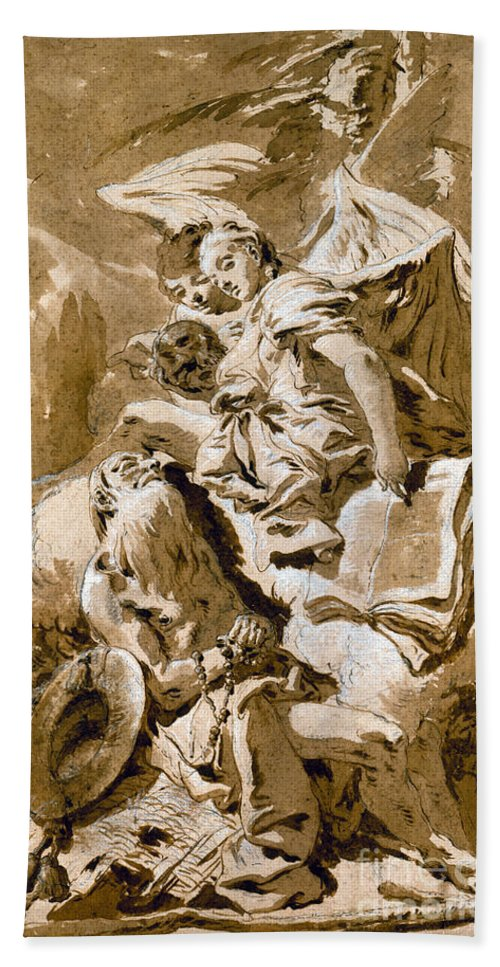 1730s Hand Towel featuring the painting Tiepolo: Saint Jerome by Granger