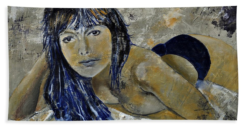 Girl Bath Sheet featuring the painting Tiffany 45 by Pol Ledent