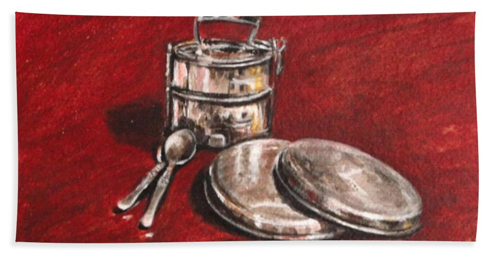 Tiffin Hand Towel featuring the painting Tiffin Carrier - Still Life by Usha Shantharam