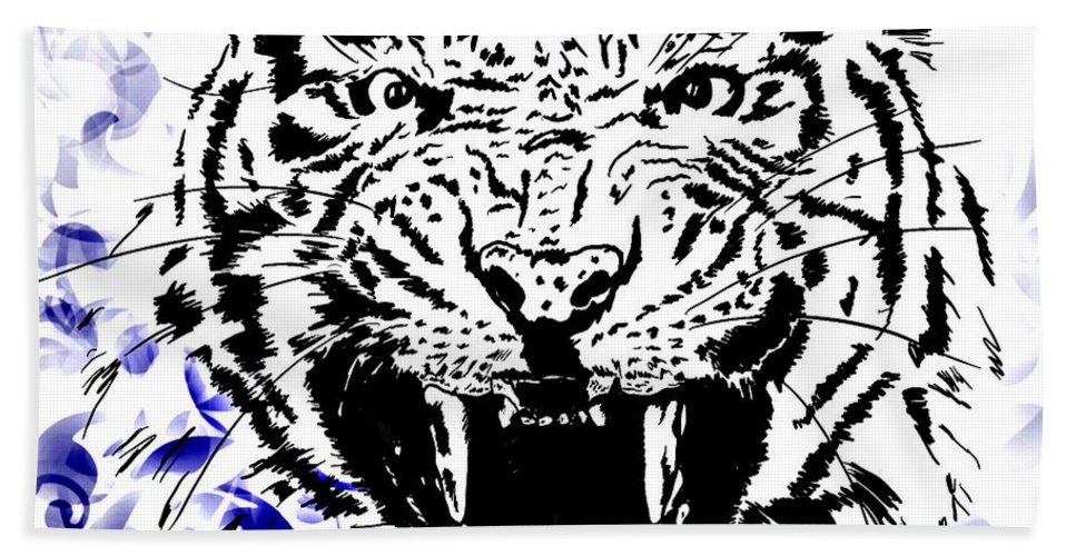 Digital Photograph Hand Towel featuring the digital art Tiger And Paisley by Laurie Pike