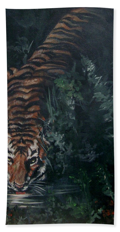 Tiger Bath Sheet featuring the painting Tiger by Bryan Bustard