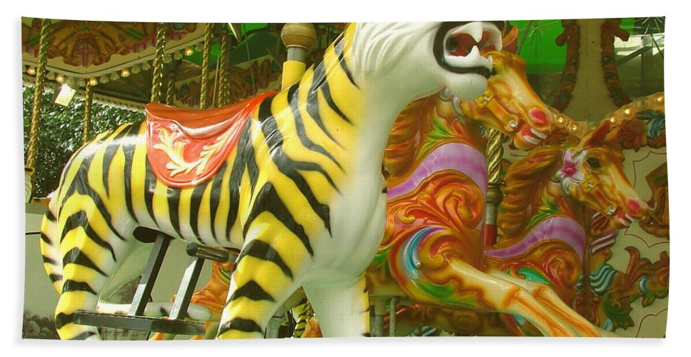 Tiger Bath Sheet featuring the photograph Tiger Carousel by Heather Lennox