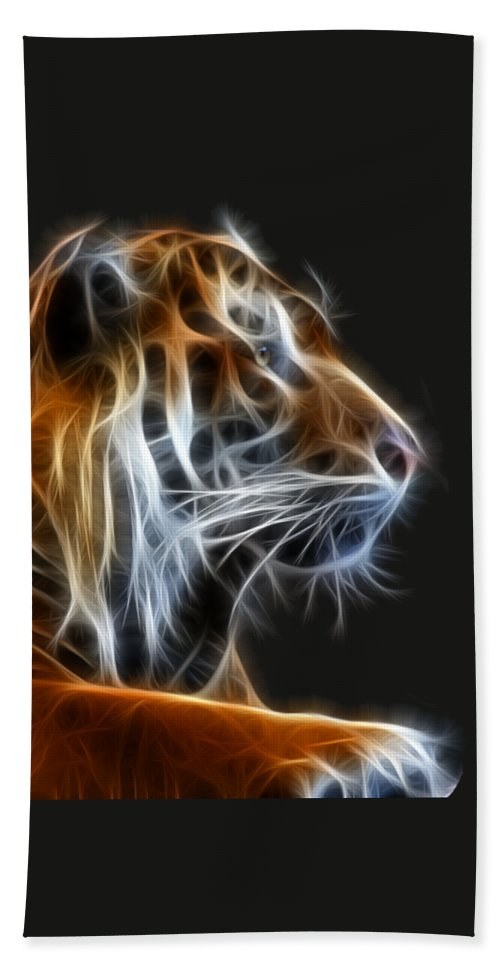 Tiger Bath Towel featuring the photograph Tiger Fractal 2 by Shane Bechler