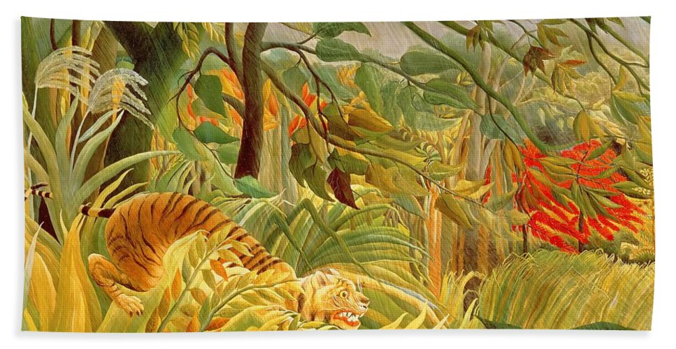 Naive Bath Towel featuring the painting Tiger In A Tropical Storm -surprised 1891 By Henri Rousseau by Art Anthology