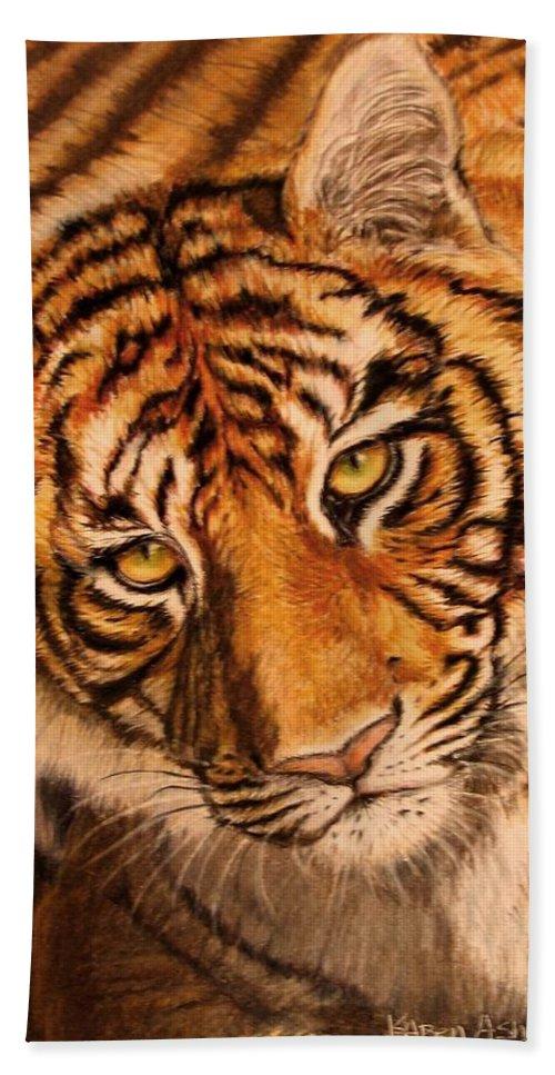 Tiger Bath Sheet featuring the drawing Tiger by Karen Ilari