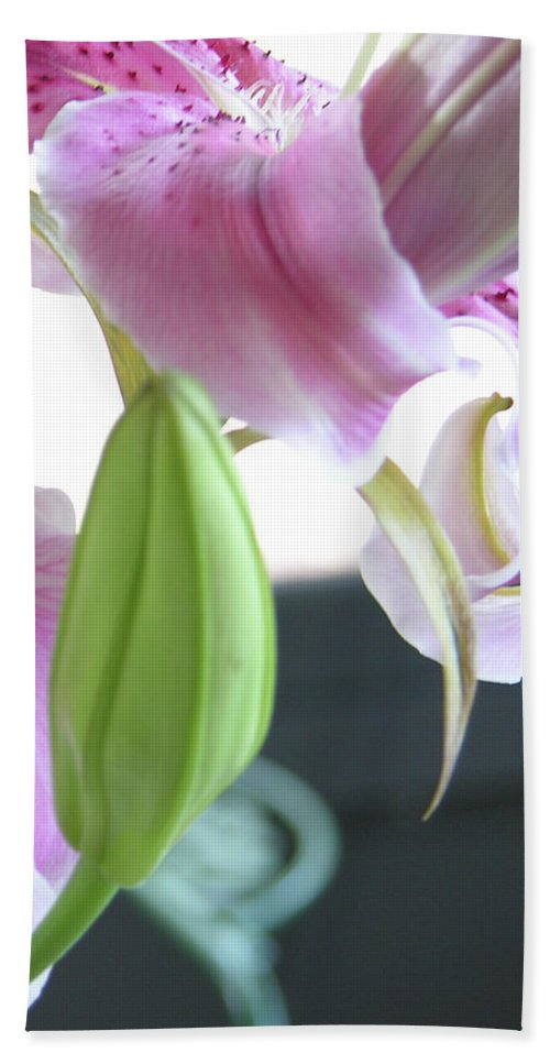 Photography Bath Sheet featuring the photograph Tiger Lily Bud by Julianne Felton