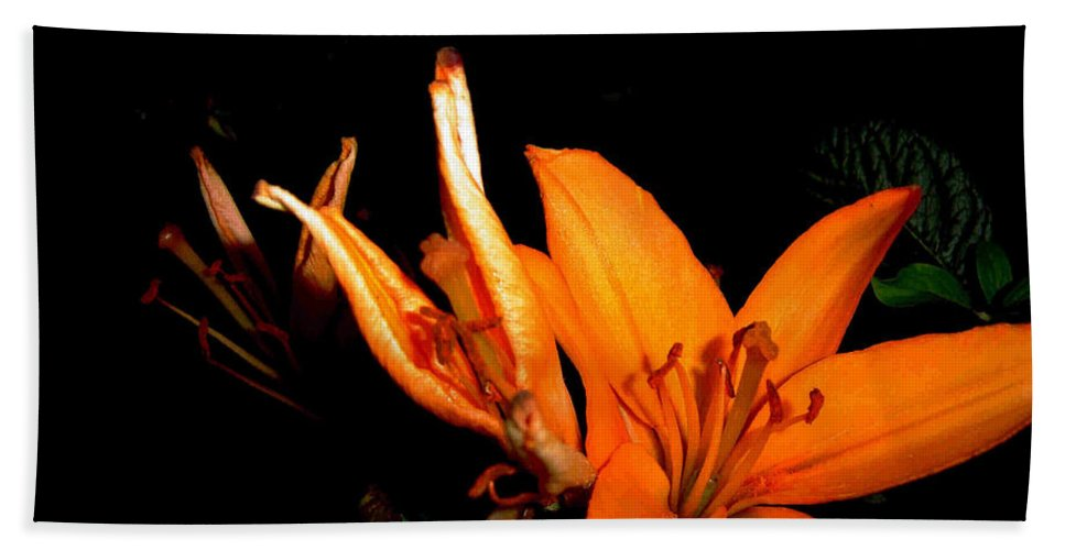 Tiger Lily Bath Sheet featuring the photograph Tiger Lily by Joanne Smoley