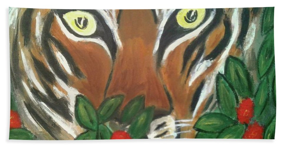 Tiger Hand Towel featuring the painting Tiger Prey by Rose Coit