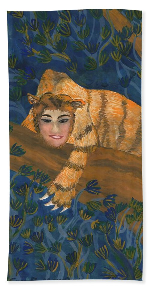 Sphinx Hand Towel featuring the painting Tiger Sphinx by Sushila Burgess
