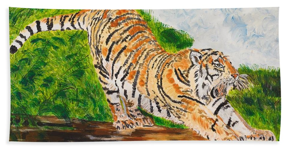 Cat Bath Towel featuring the painting Tiger Stretching by Valerie Ornstein