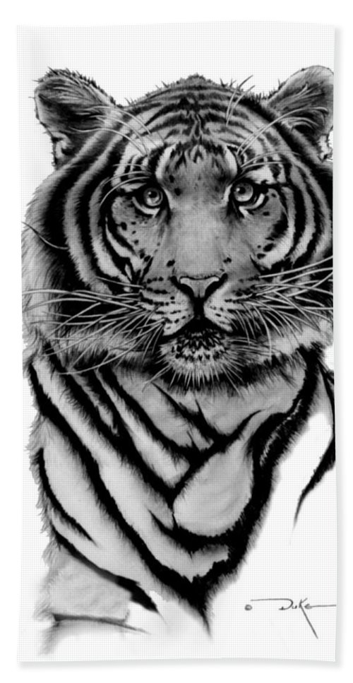 Tiger Hand Towel featuring the drawing Tiger Tiger by Duke Windsor