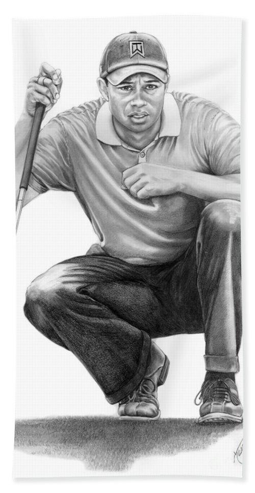 Pencil Hand Towel featuring the drawing Tiger Woods Crouching Tiger by Murphy Elliott
