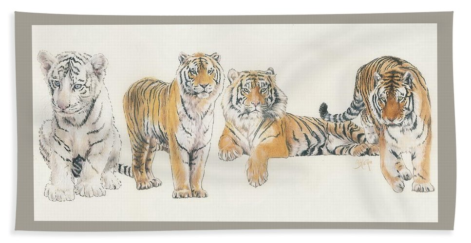 Tiger Bath Towel featuring the mixed media Tiger Wrap by Barbara Keith