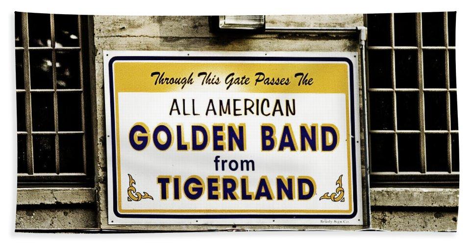 Tigers Bath Sheet featuring the photograph Tigerland Band by Scott Pellegrin
