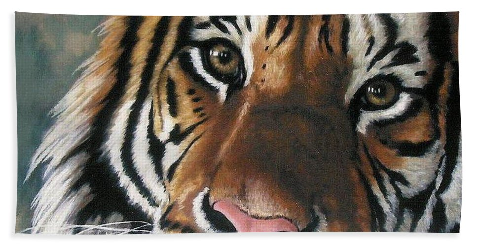 Tiger Hand Towel featuring the pastel Tigger by Barbara Keith
