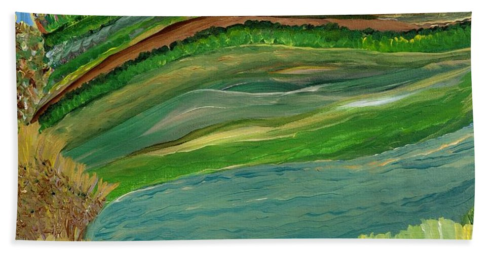 Landscape Hand Towel featuring the painting Tight Knit Community by Sara Credito