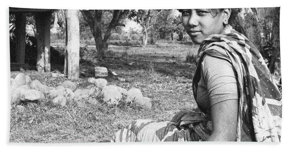 Tharu Hand Towel featuring the photograph Tilak Devi 1985 by Omar Shafey