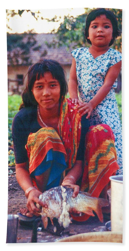 Tharu Hand Towel featuring the photograph Tilak Devi 1995 by Omar Shafey