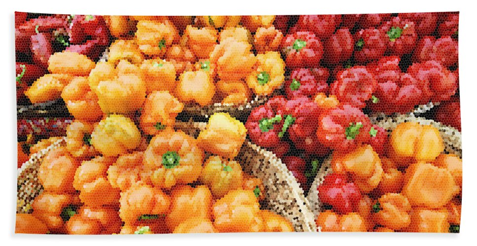 Peppers Hand Towel featuring the photograph Tile Peppers by Robert Ponzoni