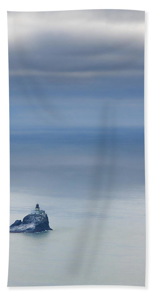 Oregon Coast Hand Towel featuring the photograph Tillamook Rock Lighthouse by Don Schwartz