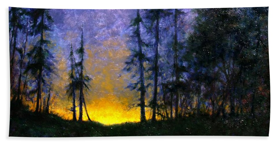 Landscape. Nocturn Bath Towel featuring the painting Timberline by Jim Gola