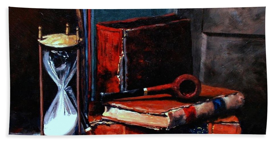 Still Life Painting Bath Towel featuring the painting Time and Old Friends by Jim Gola